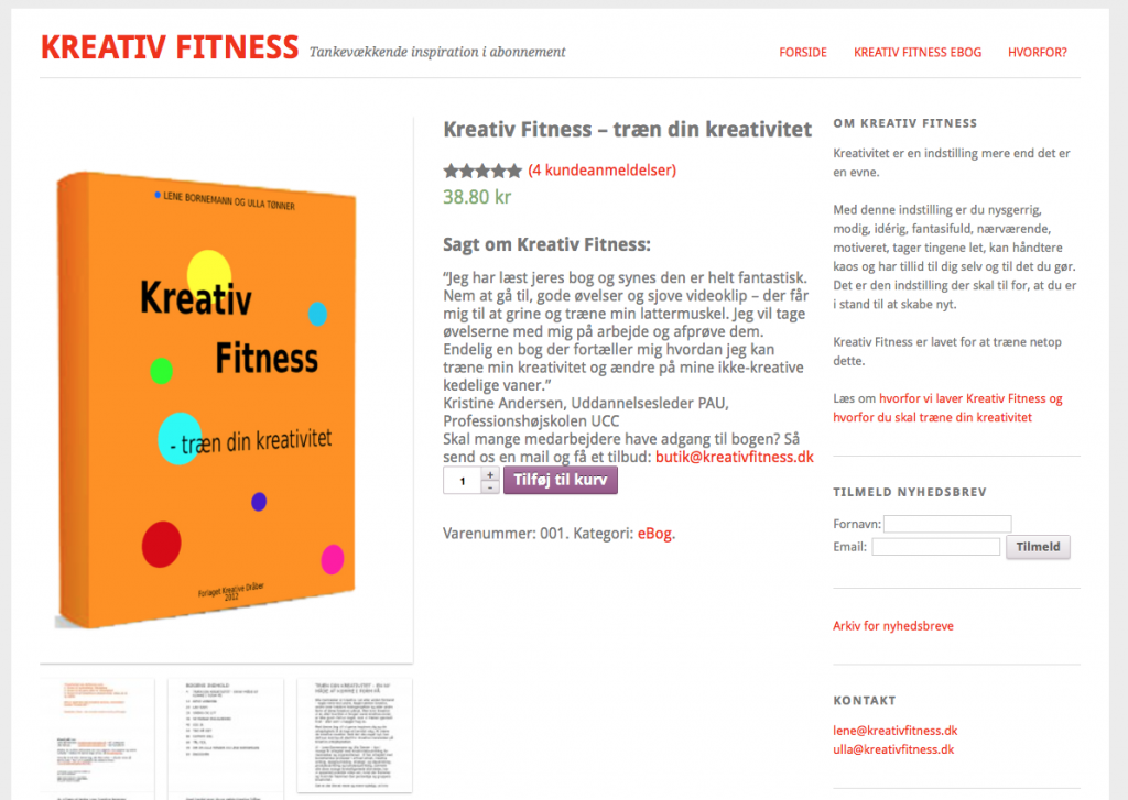 Kreativfitness produktside